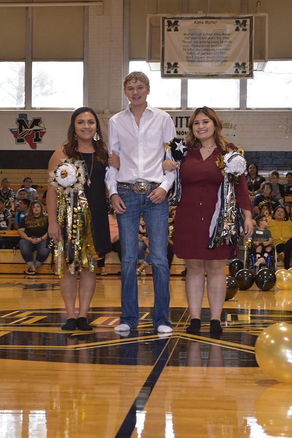 Homecoming King Nash Willingham with Queen Candidates Beyonce Montoya and Jocelyn Pina