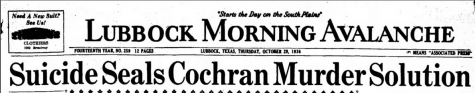 Headline from the Thursday, October 29, 1936 Lubbock Morning Avalanche.