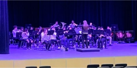 Morton Band performs onstage for UIL competition.